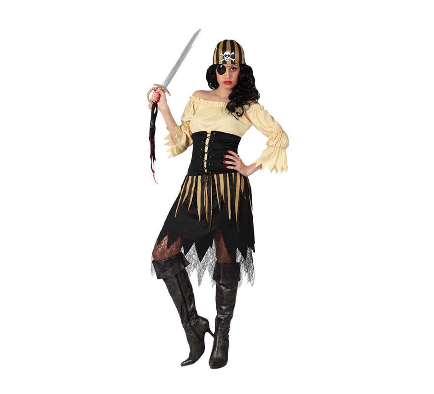 Disfraz de Pirata Calavera para mujer. Talla 1 ó talla S = 34/38 para chicas delgadas y adolescentes. Incluye vestido y pañuelo. Resto de complementos NO incluidos, podrás verlos en la sección de Complementos.