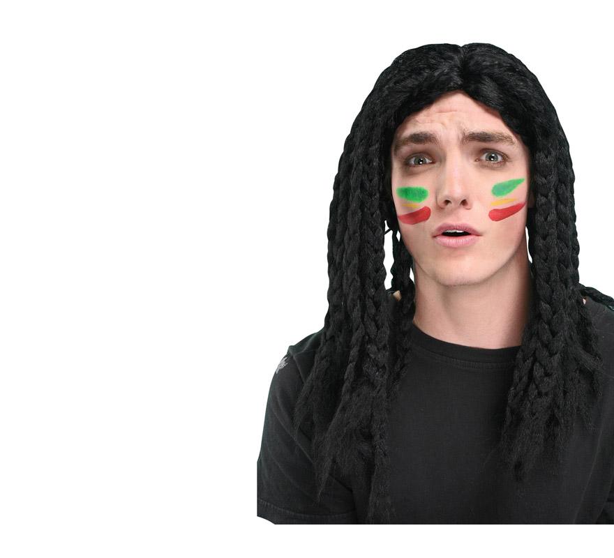 Peluca Indio negra de trenzas. También podría valer como peluca de Jamaicano o de Bob Marley.