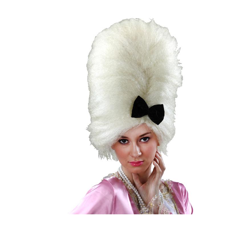 Peluca de Época blanca peinado con lazo.