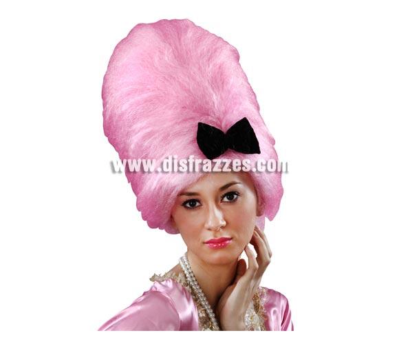 Peluca de Época rosa peinado alto con lazo.
