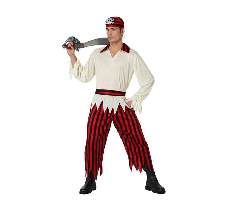 Disfraz de Pirata para hombres. Talla 2 o talla M-L = 52/54. Incluye pantalón, camiseta con cuello, cinturón y pañuelo para la cabeza. La espada y el pendiente lo podrás encontrar en la sección de Complementos.
