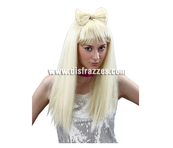 Peluca larga rubia con lazo Estrella del Pop. Perfecta si te vas a disfrazar de Lady Gaga.
