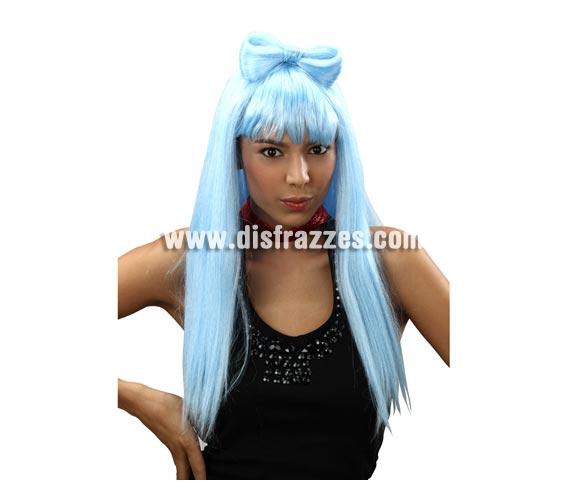 Peluca larga azul con lazo Estrella del Pop. Perfecta si te vas a disfrazar de Lady Gaga.