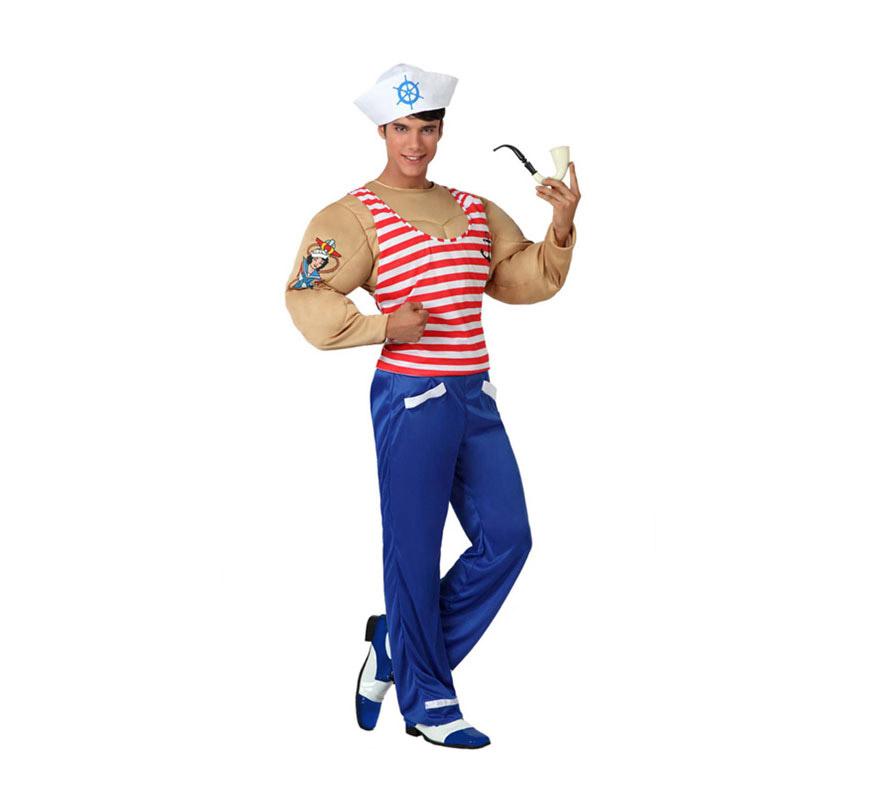 Disfraz de Marinero Musculoso para hombre. Talla 3 o talla XL = 54/58. Incluye pantalón, camiseta con músculos y gorro. La pipa No la incluye. pero podrás verla en la sección de Complementos. Con este disfraz podrás imitar a Popeye.