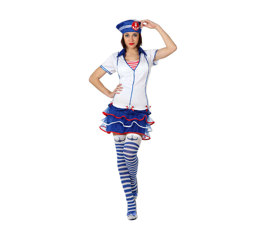 Disfraz de Marinera para mujer. Talla 3 ó talla XL = 44/48. Incluye disfraz completo SIN medias. Las medias las podrás ver en la sección de Complementos.