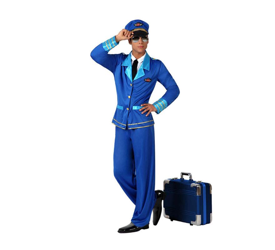 Disfraz de Piloto de Avión para hombre. Talla XL = 54/58. Incluye pantalón, camisa con chaqueta, corbata y gorra. Las gafas las podrás ver en al sección de Complementos.