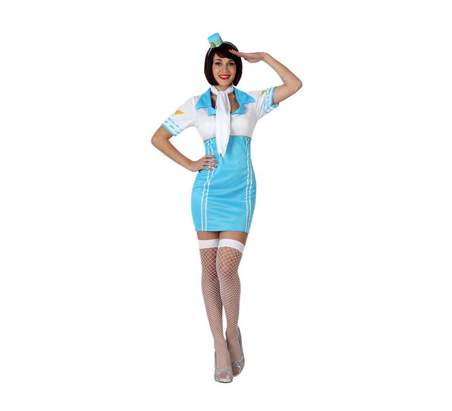 Disfraz de Azafata de Vuelo Sexy para mujer. Talla 3 ó talla XL = 44/48. Incluye gorro, pañuelo para el cuello y vestido. Medias y zapatos NO incluidos, las medias podrás verlas en la sección de Complementos.