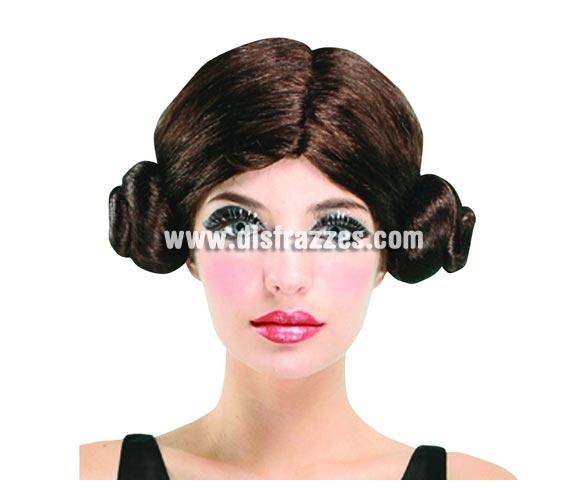 Peluca castaña Princesa de las Galaxias Leia. En un momento dado también serviría como peluca de Fallera.