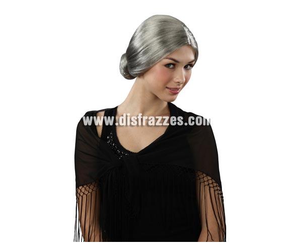 Peluca blanca de abuela, de anciana o de vieja. También valdría para el disfraz de Abuela Asesina en Halloween.