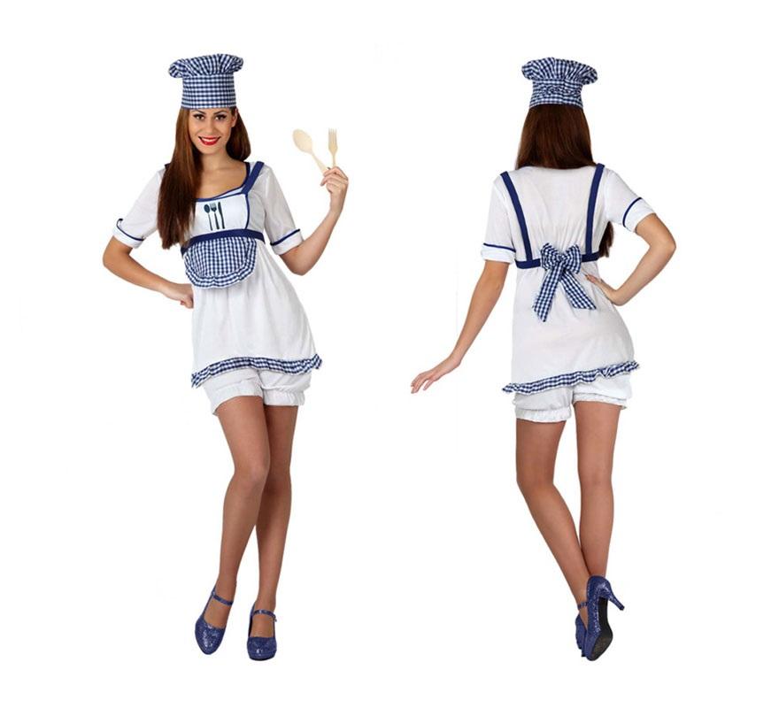 Disfraz de Cocinera o Cheff para mujer. Talla 2 o talla M-L = 38/42. Incluye vestido, pololos y gorro.