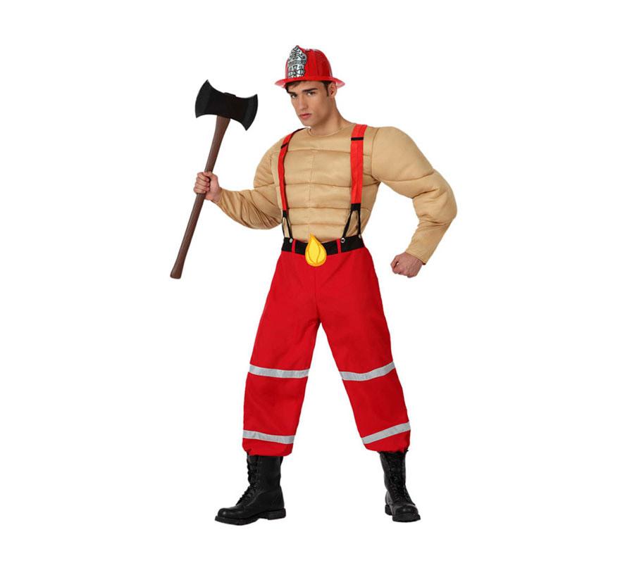 Disfraz de Bombero Musculoso para hombre. Talla 3 o talla XL = 54/58. Incluye pantalón con tirantes y pecho con músculos. El casco y la hacha lo podrás ver en la sección de Complementos.