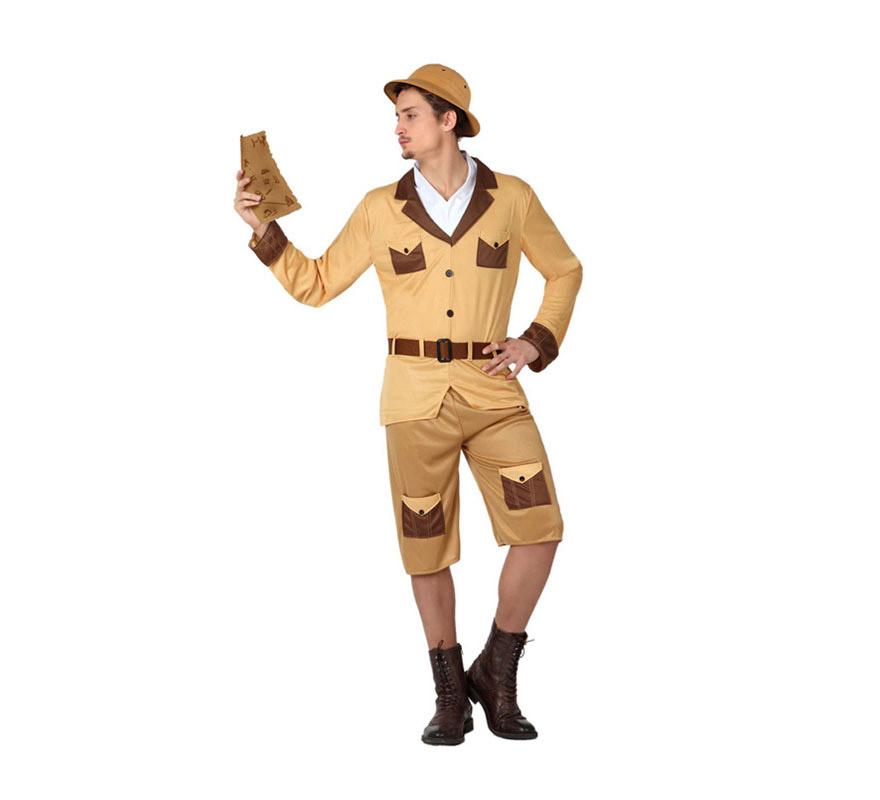 Disfraz de Explorador o Safari para hombre. Talla M-L = 52/54. Incluye pantalón, camisa y cinturón. Resto de accesorios NO incluidos, podrás verlos en la sección de Complementos.