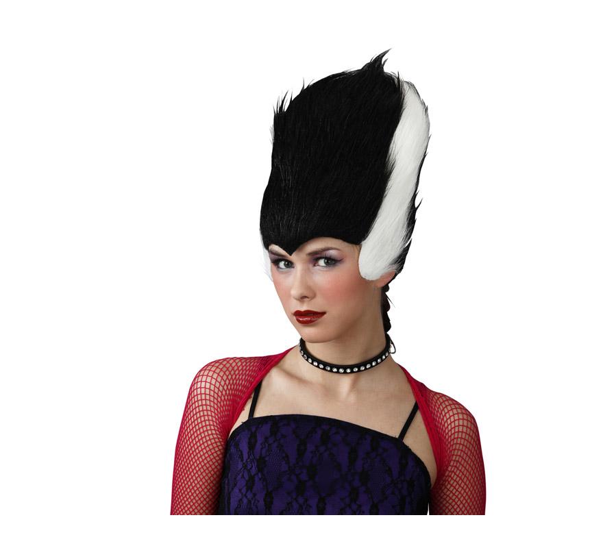 Peluca Colmena blanca y negra para Halloween.