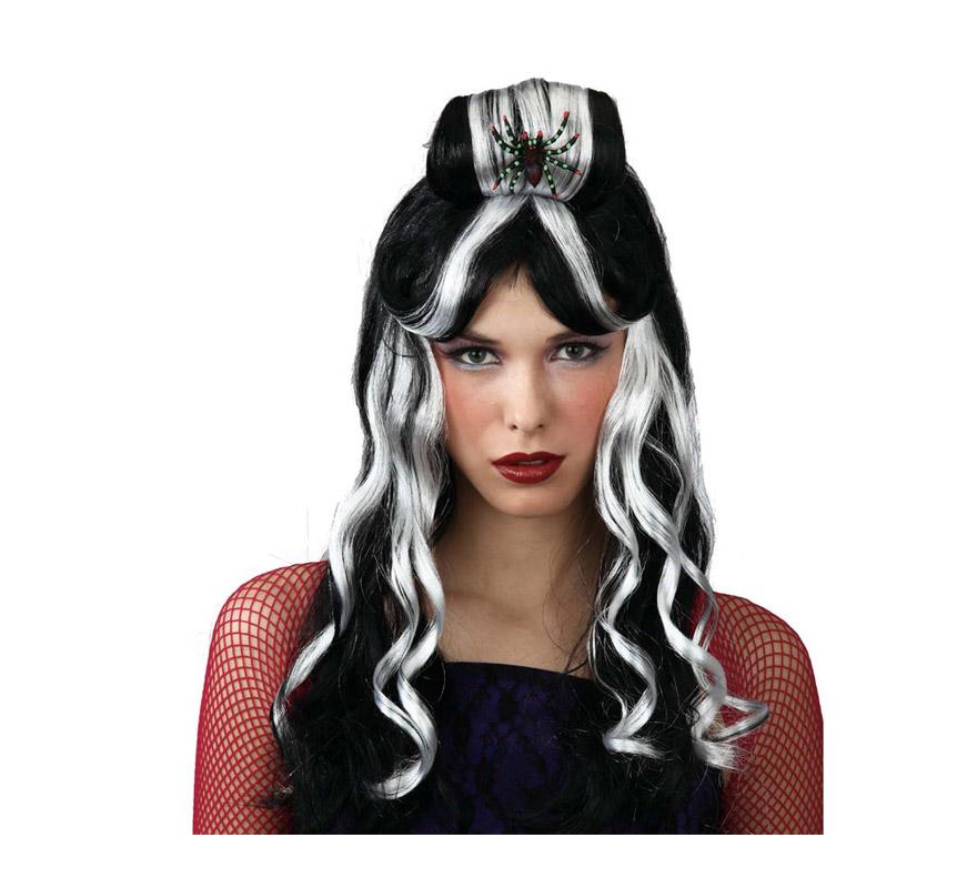Peluca blanca y negra con araña para Halloween. Perfecta para los disfraces de Bruja o Vampiresa.