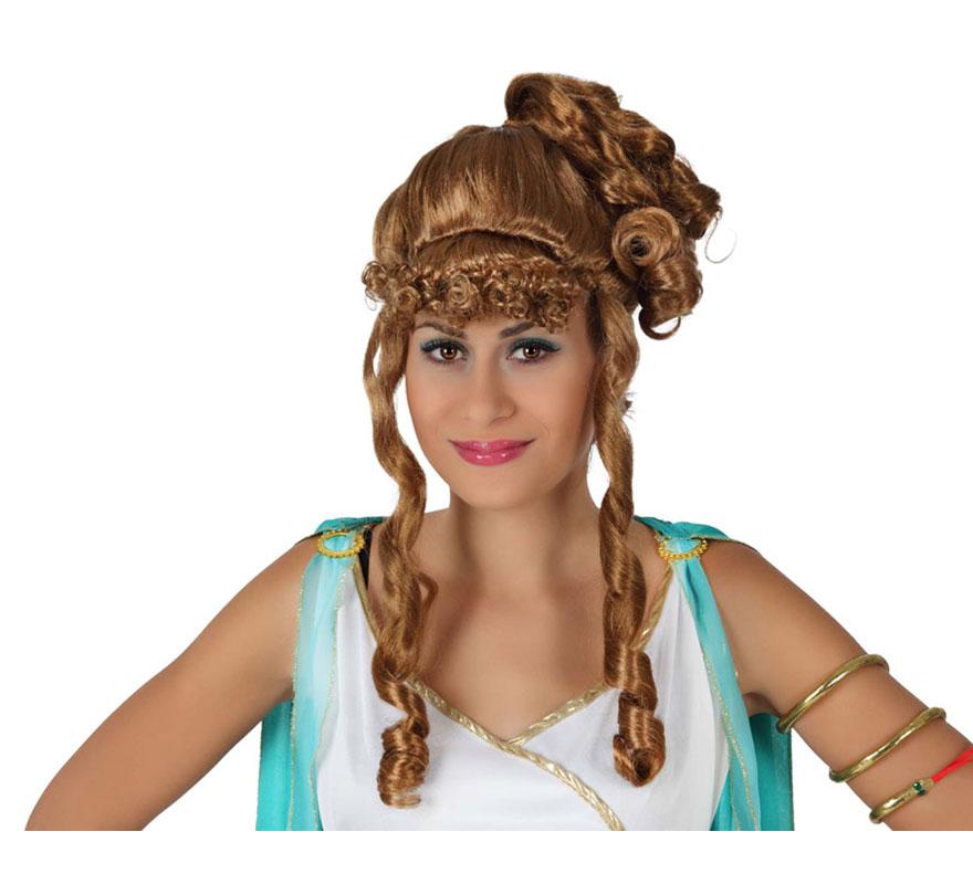 Peluca de Romana castaña clásica con tirabuzones. También sirve como Peluca de Diosa Griega.