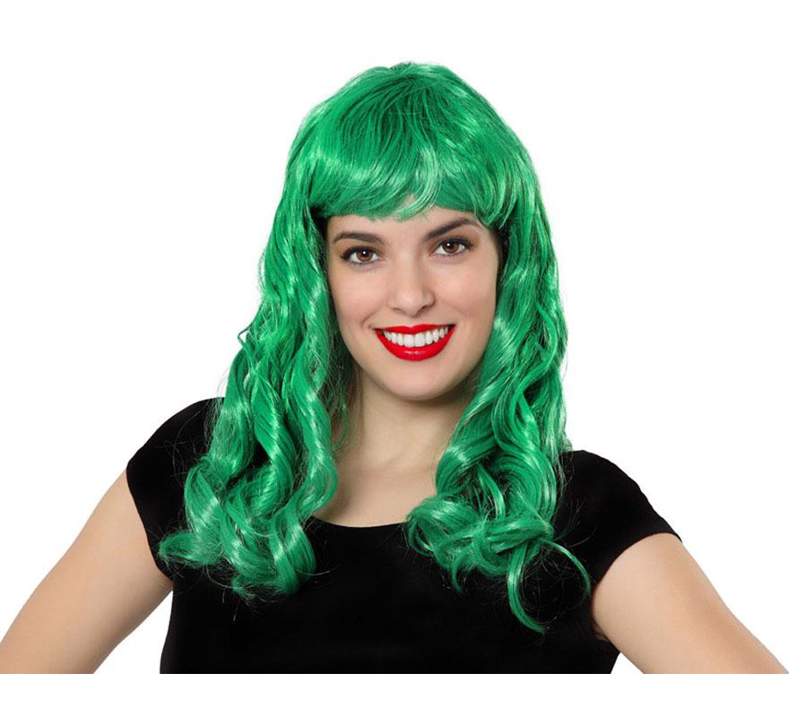 Peluca larga verde con flequillo. Ideal para el disfraz de Bruja, Marciana, Hada, etc.