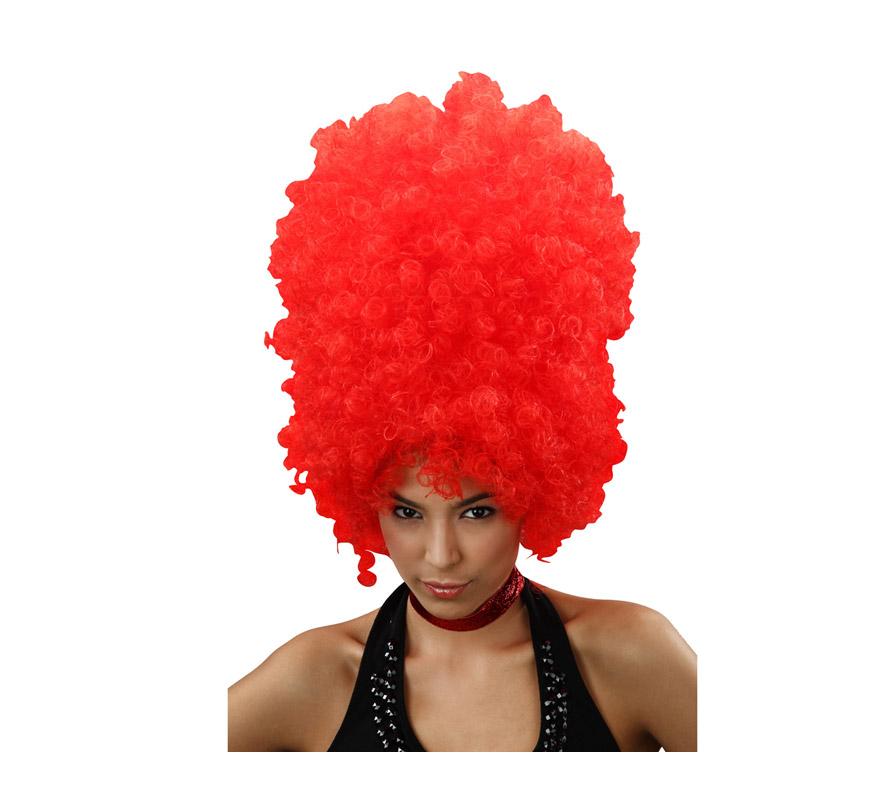Peluca afro roja larga.