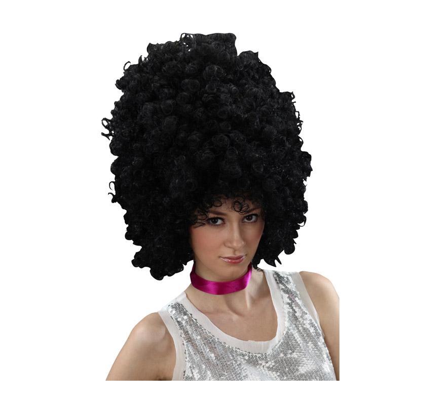 Peluca afro negra larga.
