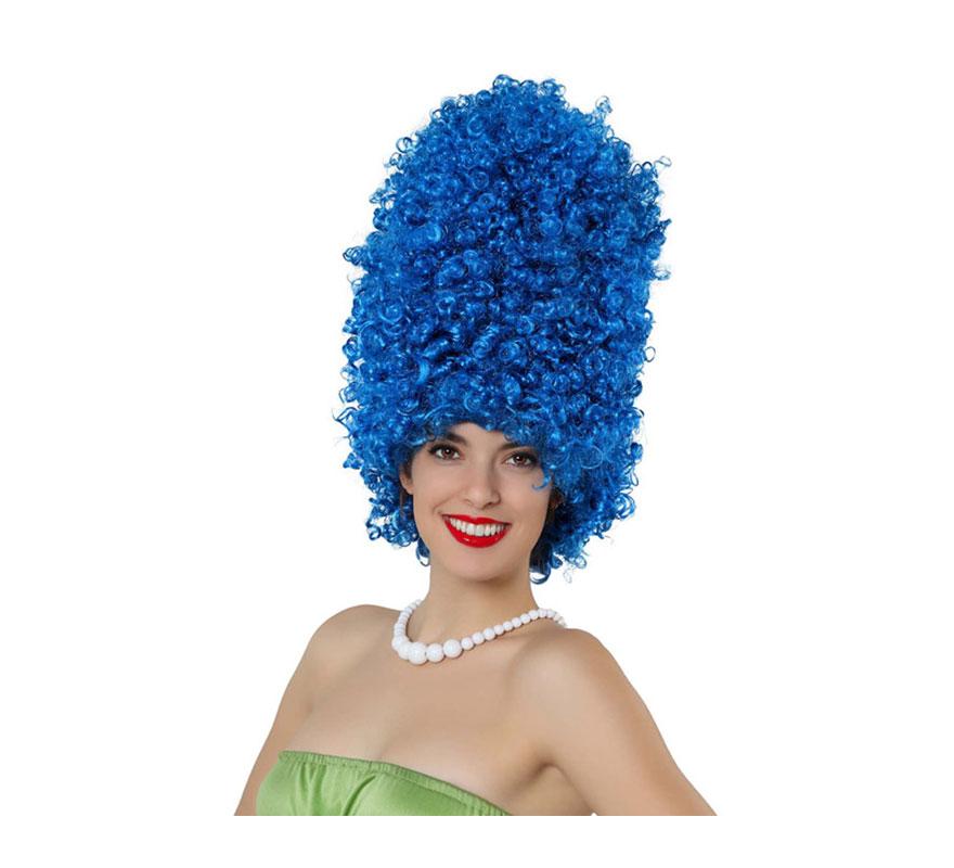 Peluca afro azul de Marge Simpson.