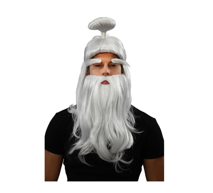 Peluca blanca de Samurai o de viejo Japonés o Chino. Incluye peluca, barba y cejas.
