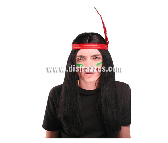 Peluca negra lisa con cinta y pluma de Indio.