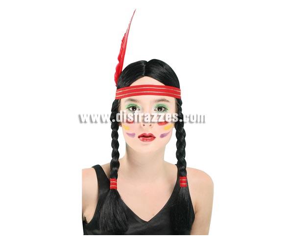 Peluca negra con cinta y pluma de India con trenzas.