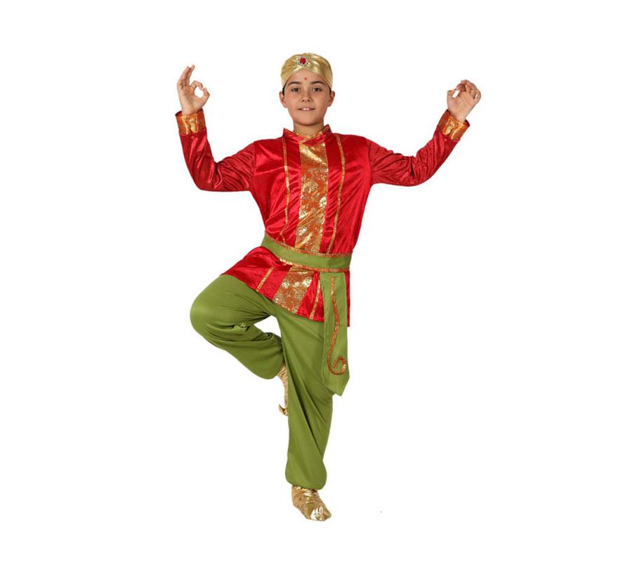 Disfraz de Hindú para Niño de 7 a 9 años. Disfraz completo a excepción de las babuchas, que las podrás ver en nuestra sección de accesorios.