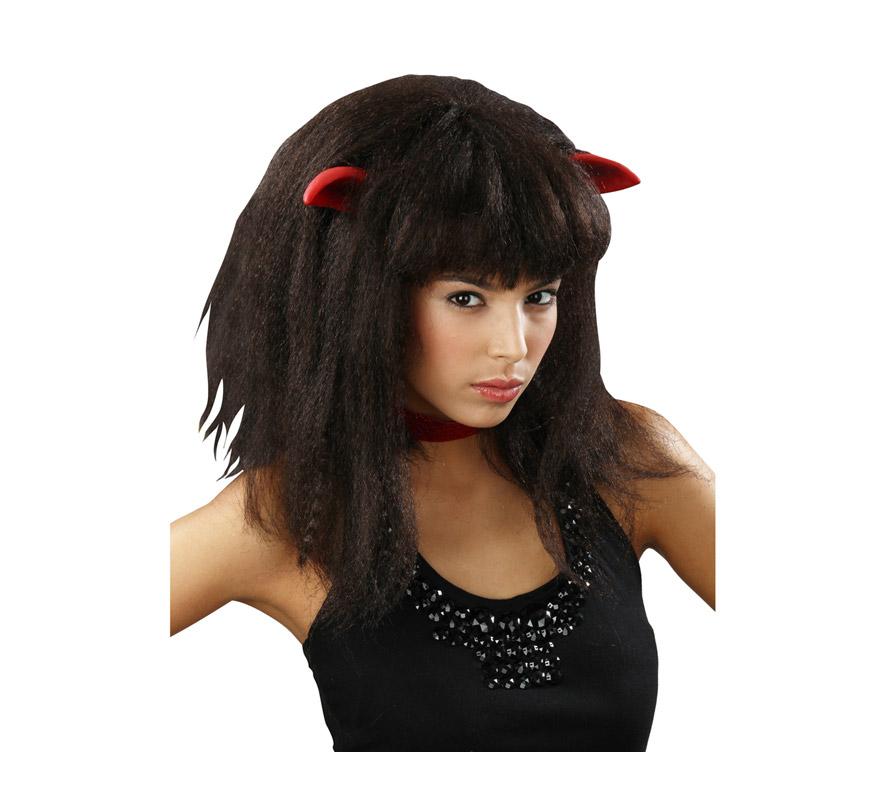 Peluca negra Diablesa con orejas de latex. También podría usarse como peluca de Mujer - Lobo o Women Wolf, se parece mucho al pelo de una Monster.