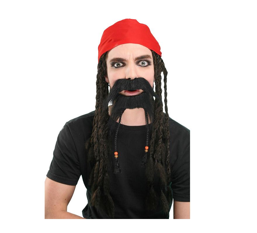 Peluca Pirata con pañuelo, bigote y perilla con trenzas