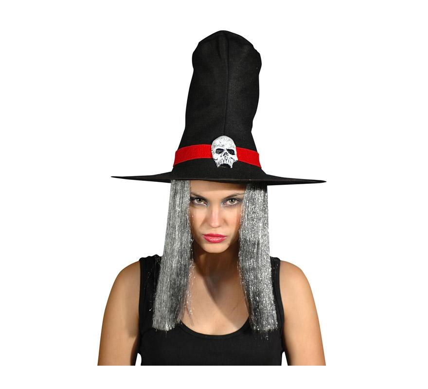 Sombrero de Hechicera con pelo y calavera.