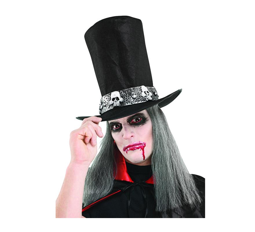 Sombrero de copa o Chistera de Vampiro con pelo gris.