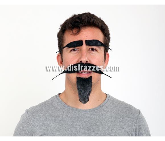 Set de cejas, bigote y perilla negra. Por ejemplo para disfraz de Mosquetero, Cervantes, Quijote o cualquier disfraz Medieval.