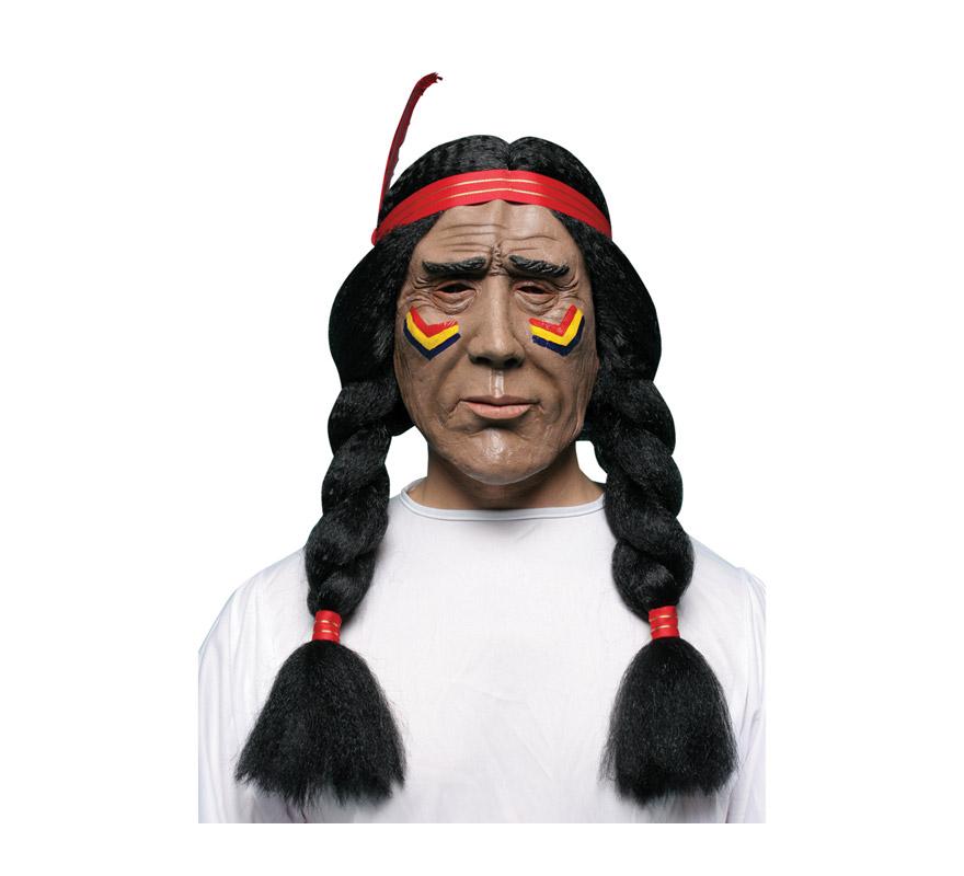 Máscara latex de Indio con trenzas negras.