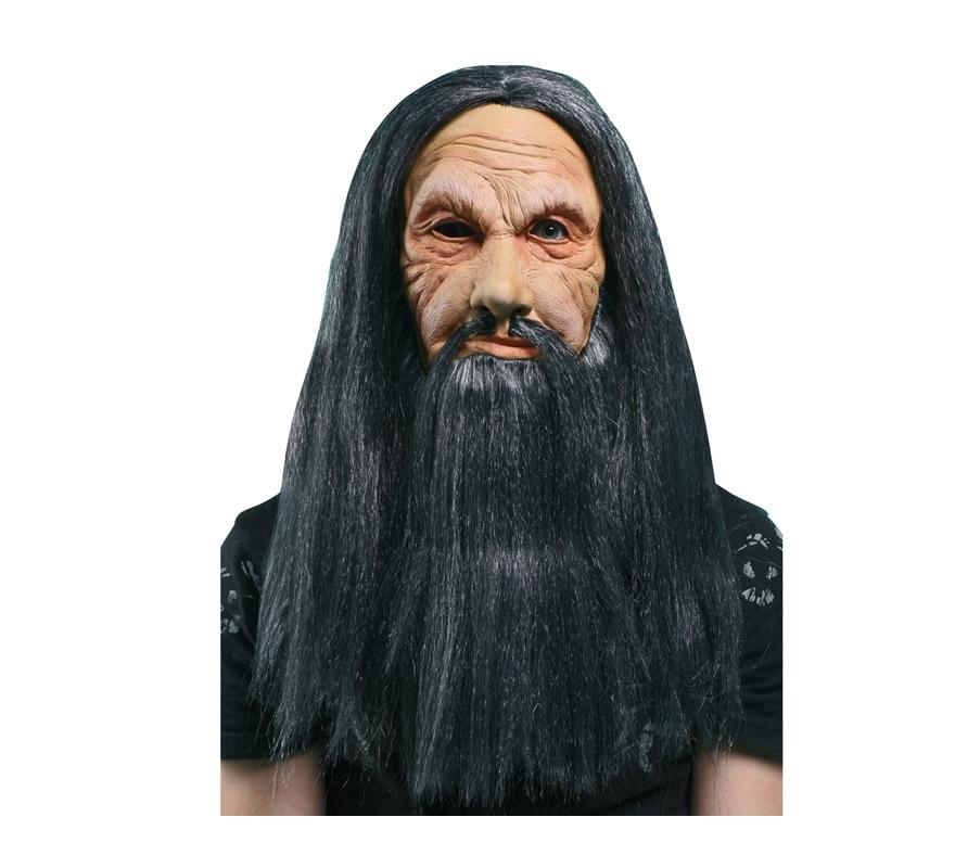 Máscara latex de Bárbaro o de Vikingo con pelo y barba.