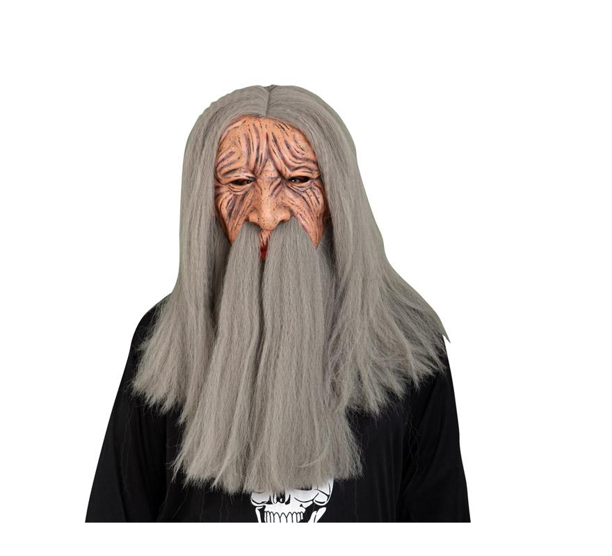 Máscara de Vikingo de látex con pelo y barba. También podría valer como máscara de Anciano o de Brujo con pelo y barba para Halloween.