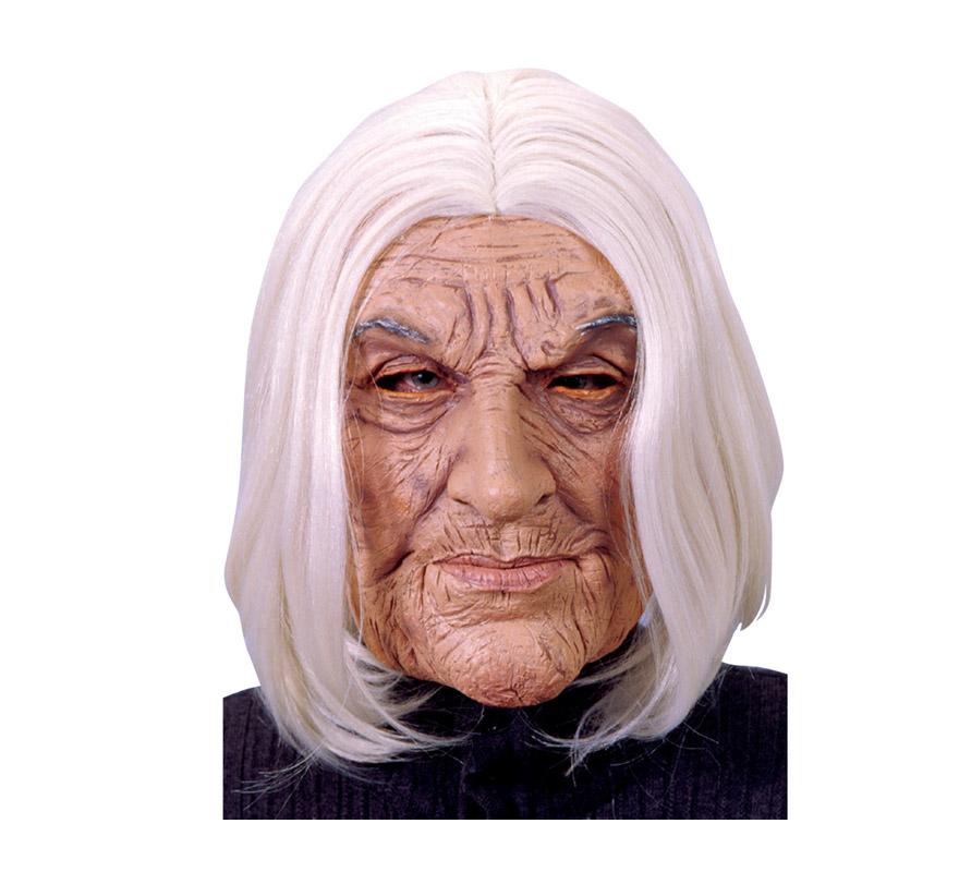 Máscara latex de Viejo o Vieja con pelo blanco. Máscara de Abuela o Anciano.