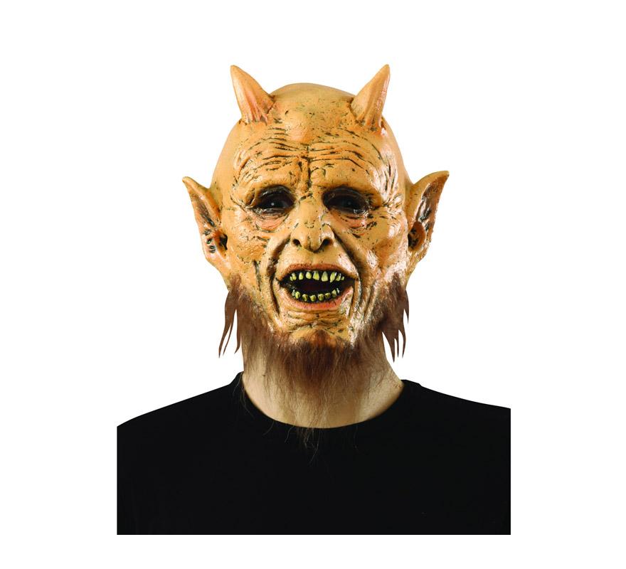 Máscara latex de Monstruo o Diablo con barba. Máscara de Belcebú.