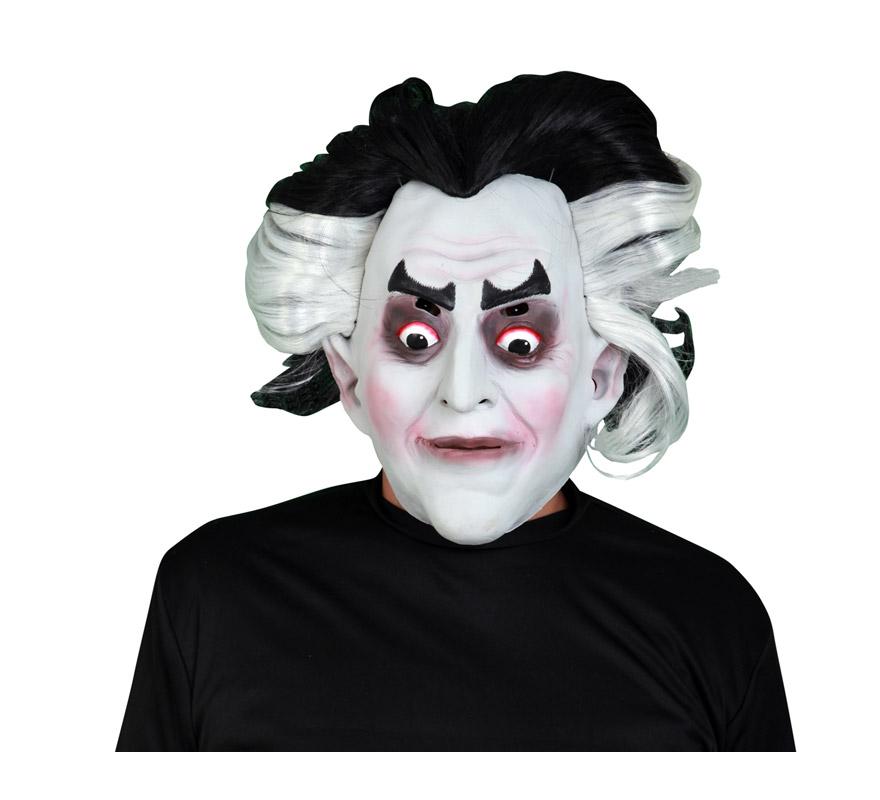 Máscara de latex Monstruo con pelo blanco y negro. Máscara o Careta del Conde Drácula.