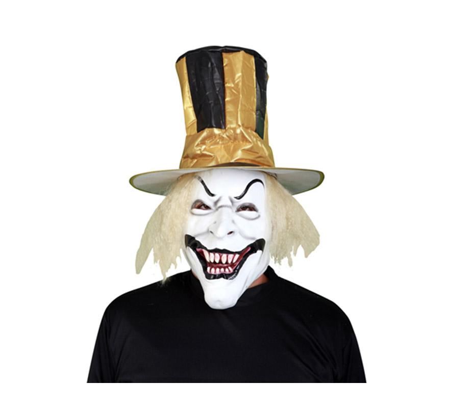 Máscara o Careta latex de Payaso con sombrero y pelo.