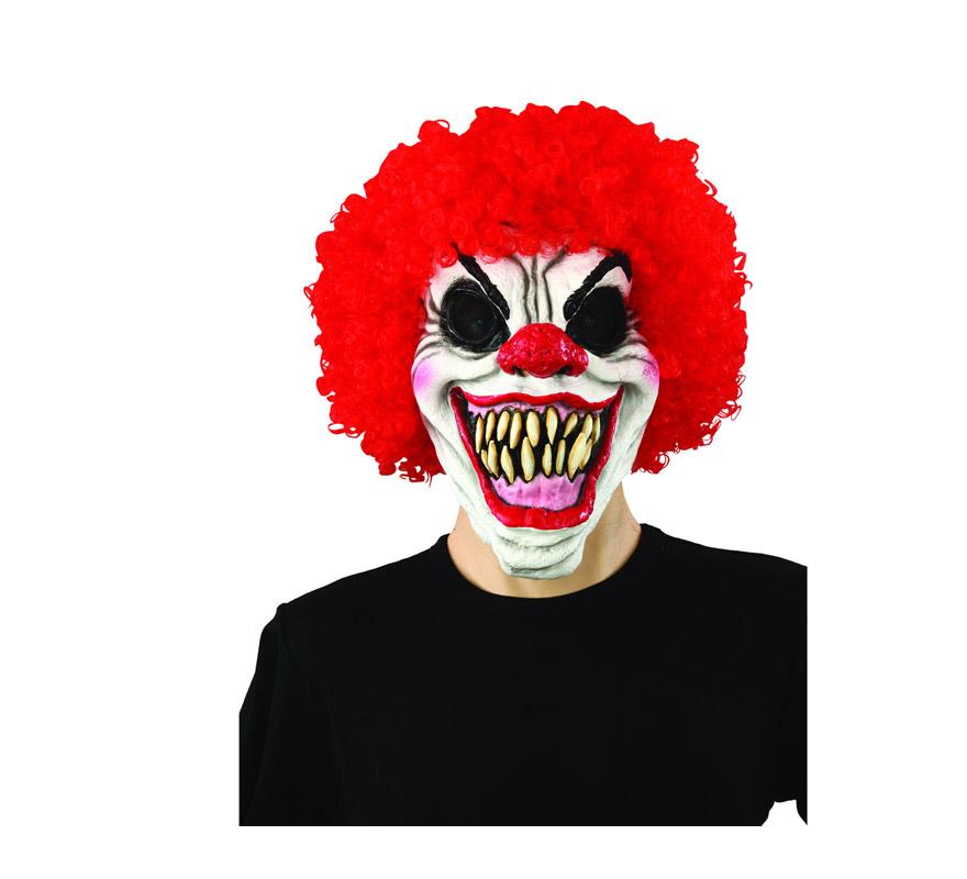 Máscara latex de Payaso Malo con pelo rojo.