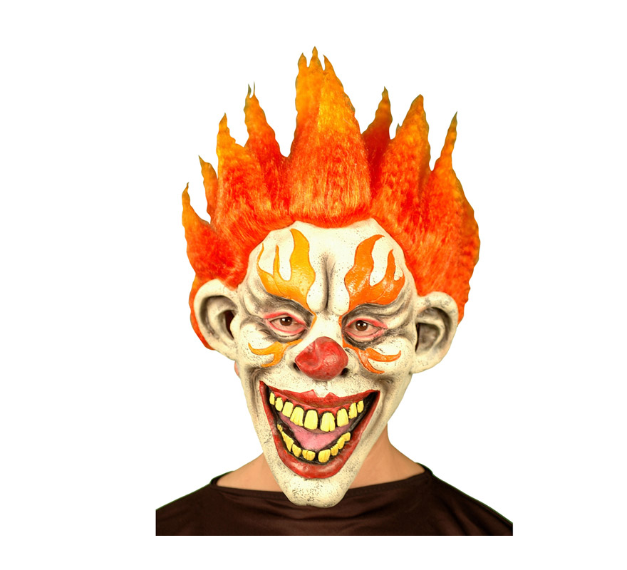 Máscara latex de Payaso Diabólico con pelo de fuego.