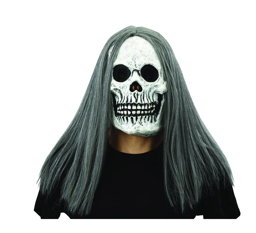 Máscara o Careta de latex de La Muerte con pelo. Máscara de Calavera con pelo ideal para Halloween.