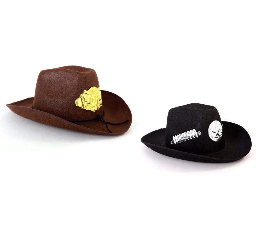 Sombrero Cowboy 2 colores. Precio por unidad, se venden por separado. Éste gorro es ideal para los disfraces de Vaquero o Pistolero.