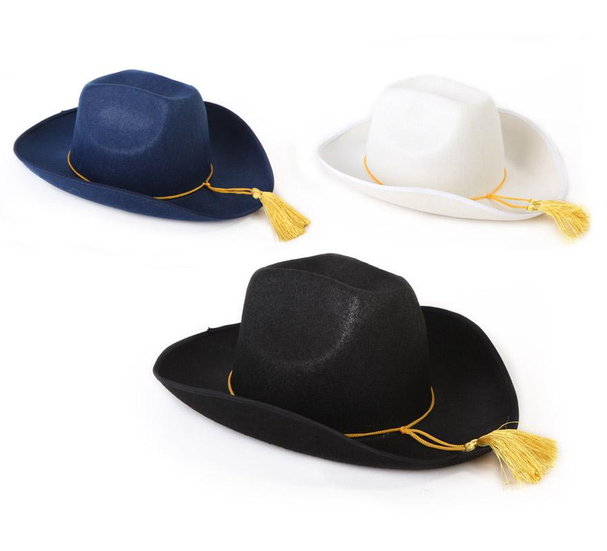 Sombrero de Cowboy o Vaquero 3 colores surtidos. Precio por unidad, se venden por separado.
