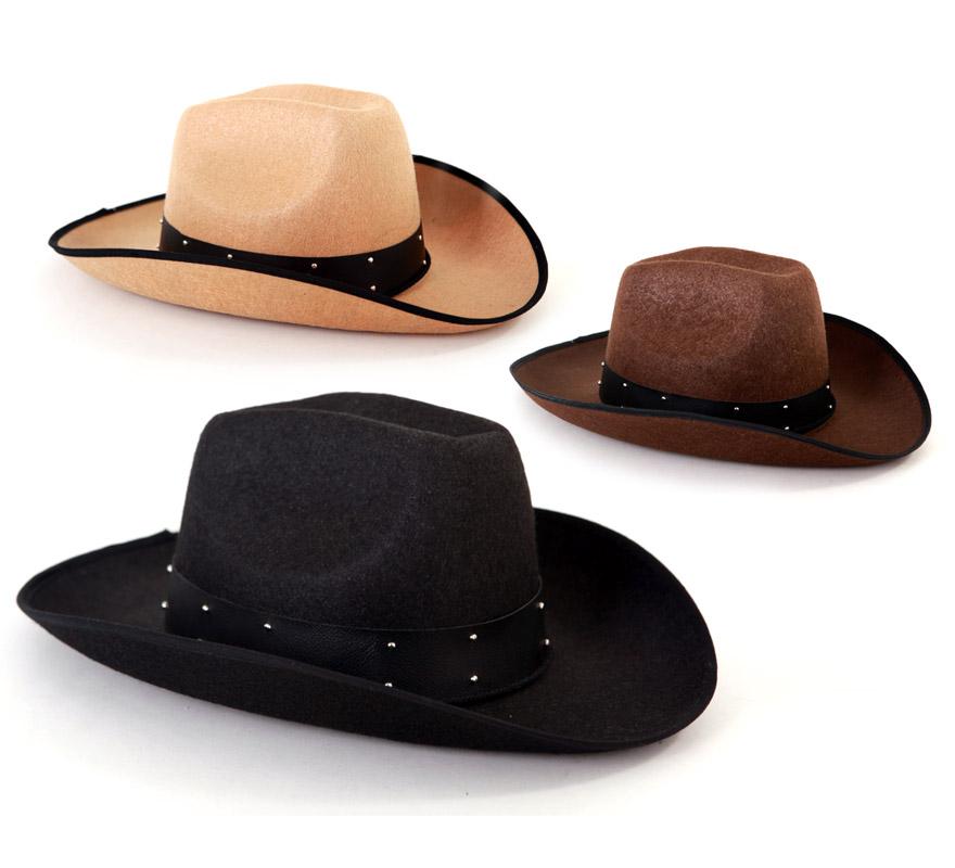 Sombrero de Cowboy 3 colores. Precio por unidad, se venden por separado. Éste gorro es ideal para los disfraces de Vaquero o Pistolero.