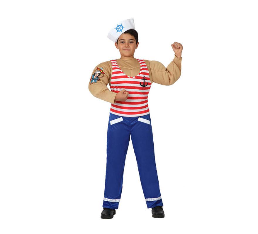 Disfraz de Marinero Musculoso para niños de 7 a 9 años. Incluye pantalón, camiseta con músculos y gorro. Completa el disfraz con una pipa. Con este disfraz podrás imitar a Popeye y a los Village People, jejeje, qué cachondo.