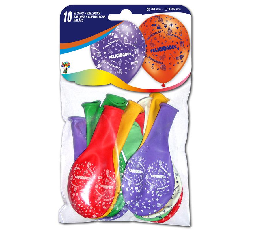 Bolsa con solapa de 10 globos 29 cm Ø de colores variados. Impresión FELICIDADES. Marca Gran Festival.