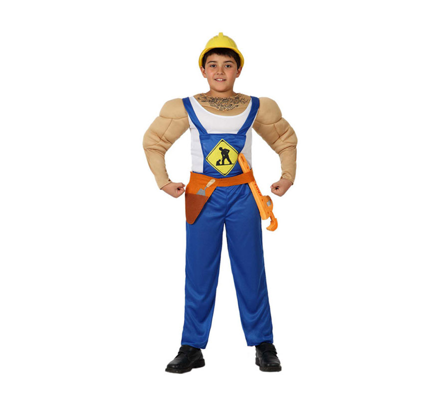 Disfraz de Albañil Musculoso para niños de 7 a 9 años. Incluye mono, cinturón y pecho musculoso. El casco de Obrero y las herramientas lo podrás ver en la sección de Accesorios. Con éste disfraz podrás imitar a los Village People, jejeje, qué bueno.