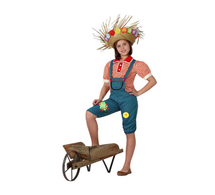 Disfraz de Granjera para niñas de 7 a 9 años. Incluye mono y camisa. Sombrero NO incluido. En nuestra sección de Accesorios tenemos uno ideal con la ref: 13624GUI.