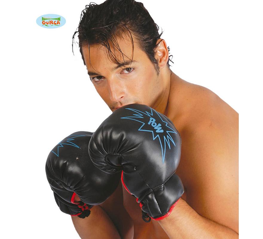 Par de guantes de Boxeo. En la imagen son de color negro, pero los guantes son de color rojo. Ideal como complemento de tu disfraz de Boxeador o Boxeadora.